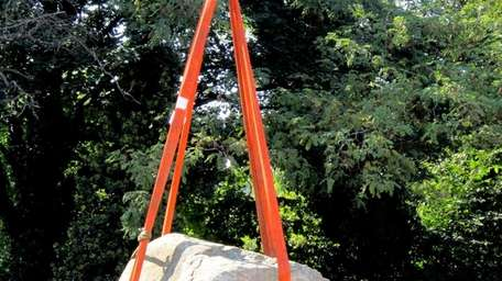 The Nathan Hale rock commemorating the Patriot, is