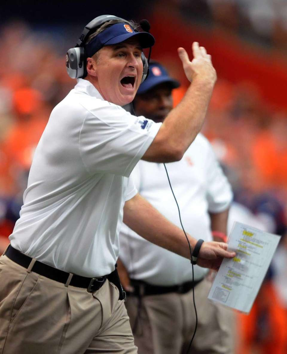 Syracuse head coach Doug Marrone calls out to