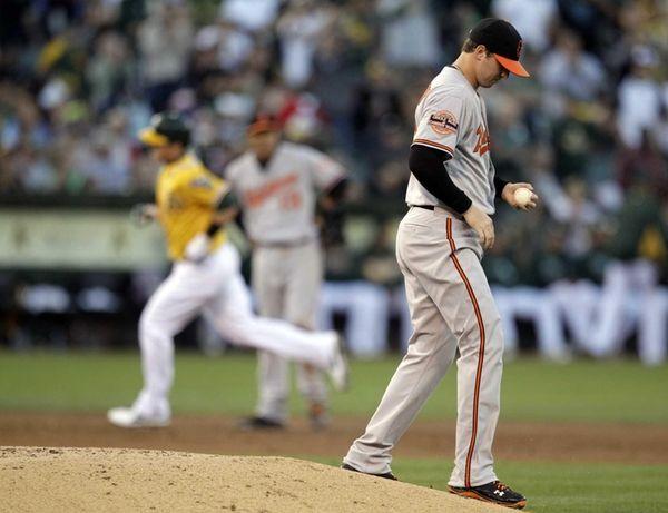 Baltimore Orioles pitcher Zach Britton, right, turns his