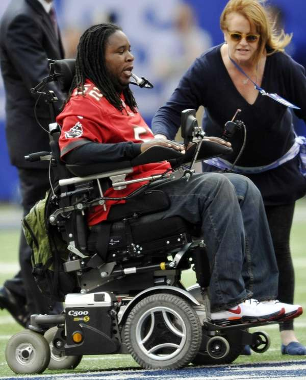 Paralyzed former Rutgers player Eric LeGrand on the