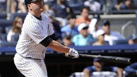 Russell Martin watches his three-run home run in