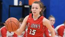 St. John the Baptist's Cara McCormack dribbles the