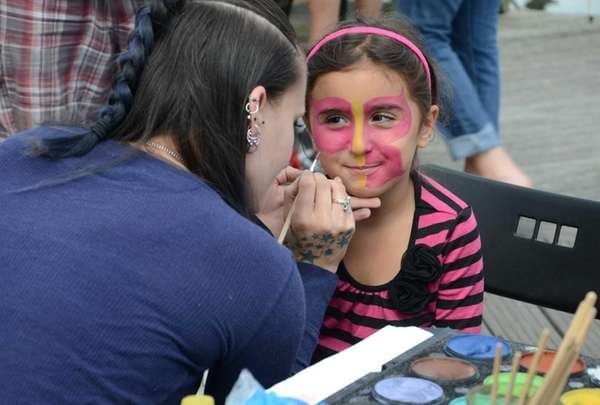 Angelina Buccellato, 5, of West Islip gets her