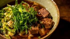 Spicy beef -and-garlic udon is made with brisket