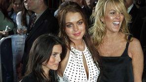 Actress Lindsay Lohan poses with her mother Dina,