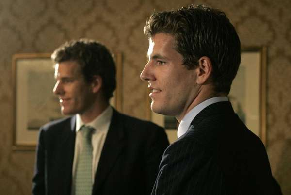 Twin brothers Cameron, left, and Tyler Winklevoss, who
