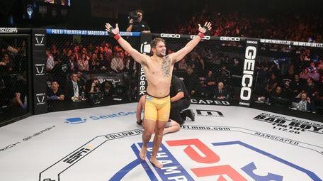 Emiliano Sordi celebrates winning the PFL light heavyweight