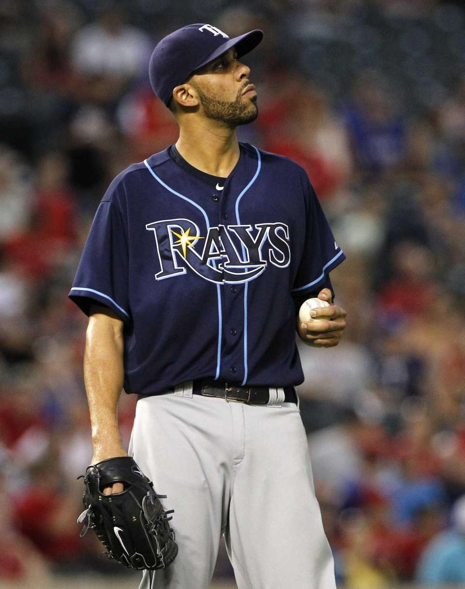 Tampa Bay Rays pitcher David Price looks toward