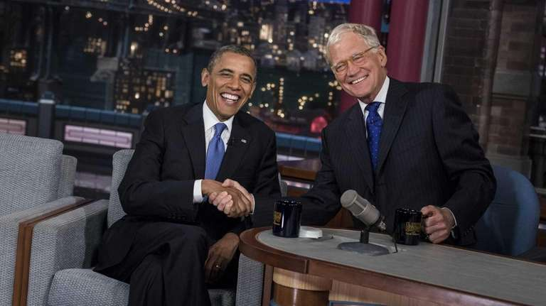 President Barack Obama and David Letterman speak during