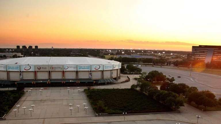 The Nassau Coliseum is seen from the roof