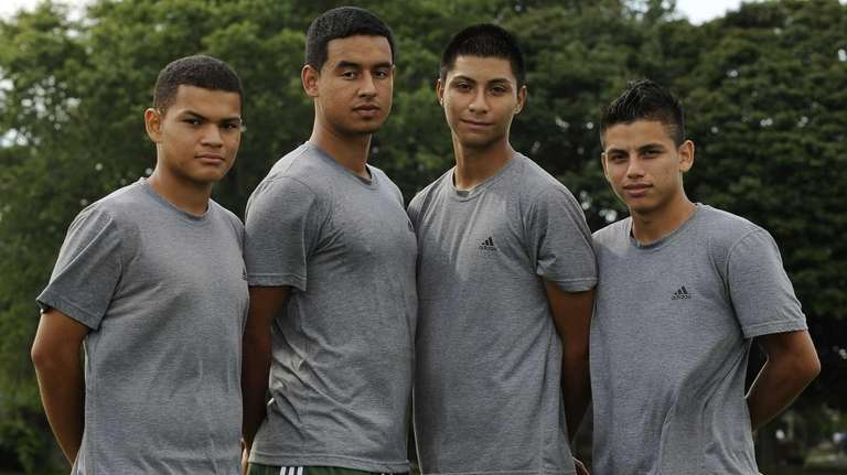 From left, Brentwood varsity boys' soccer players Mario