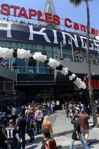 Fans line up in front of Staples Center