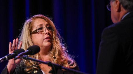 New Riverhead Supervisor Yvette Aguiar is sworn in