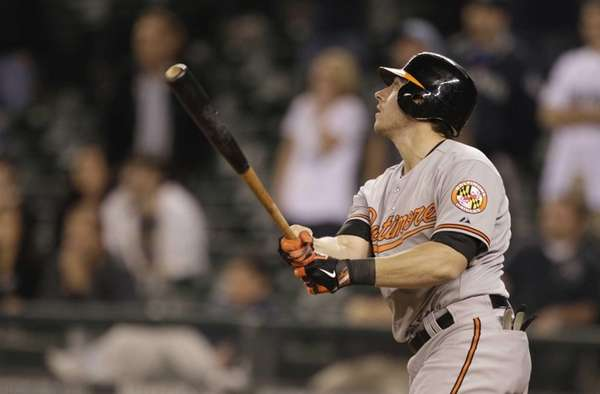 Baltimore Orioles catcher Taylor Teagarden hits a go-ahead