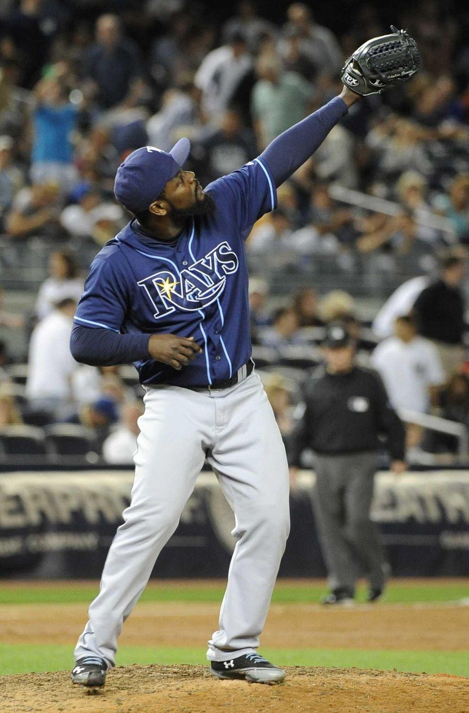 Tampa Bay Rays relief pitcher Fernando Rodney celebrates