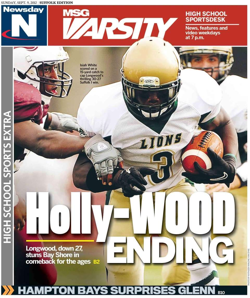 Newsday's Suffolk edition cover for the Sunday high