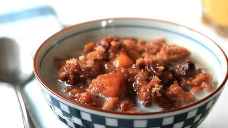 Steel-cut oats cooked overnight in the slow cooker