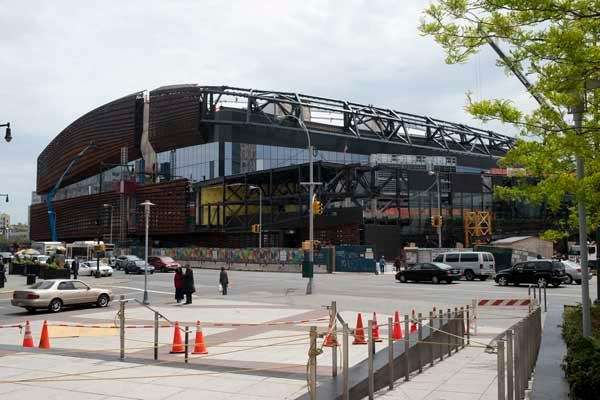 The exterior of the new Barclays Center in