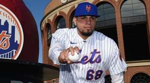 New York Mets' Dellin Betances poses for a