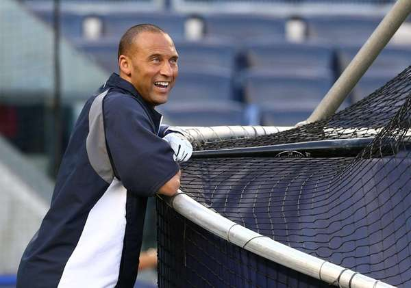 Derek Jeter during batting practice before playing against