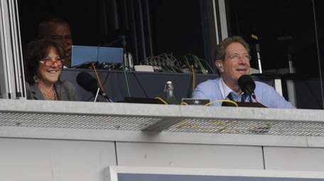 Radio broadcasters Suzyn Waldman and John Sterling have