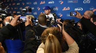 New York Mets' Dellin Betances answers questions from