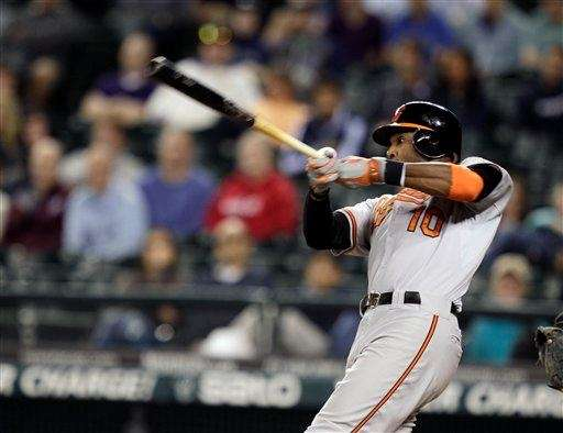 Baltimore Orioles outfielder Adam Jones hits a two-run