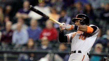 Baltimore Orioles outfielder Adam Jones hits a two-run