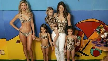 British actress Elizabeth Hurley, second right, and models