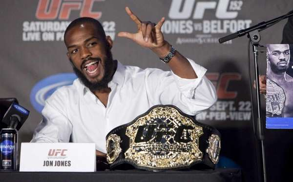 Jon Jones speaks during the UFC 152 pre-fight