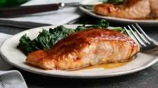 Pan seared salmon fillets glazed with Asian chili