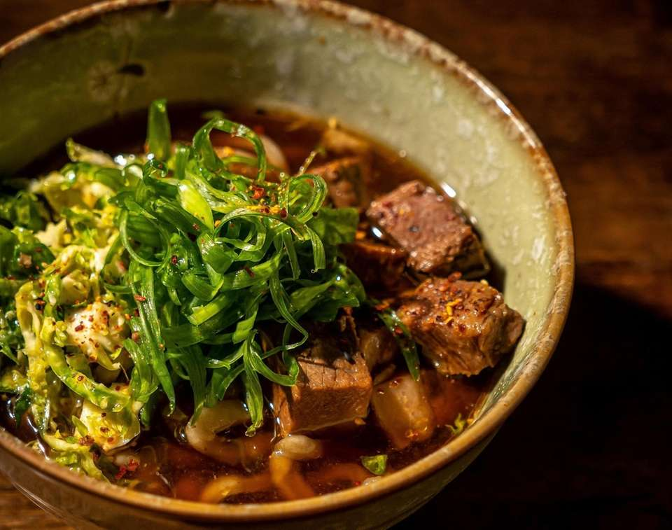 Spicy beef-and-garlic udon is made with brisket and