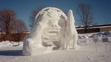 An artistic snow sculpture is displayed at Carnaval