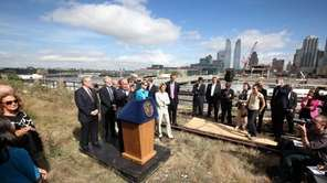 Mayor Michael Bloomberg, City Council Speaker Quinn, and