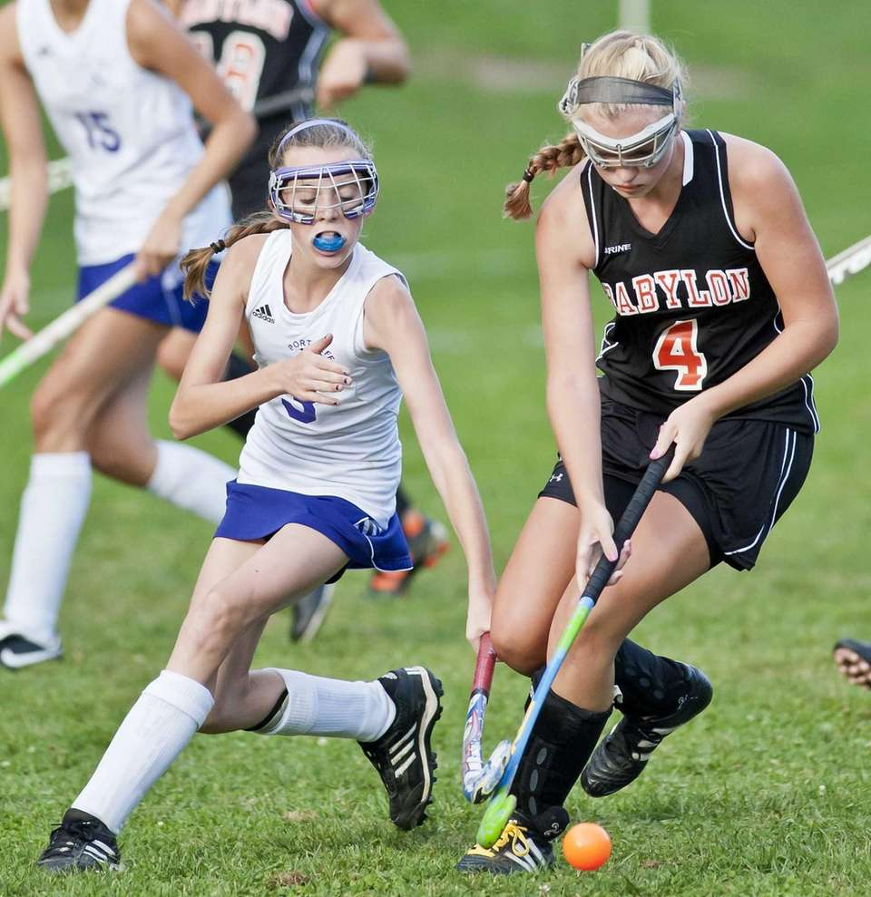 Port Jefferson's Jackie Brown fights for the ball