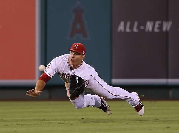 Center fielder Mike Trout of the Los Angeles