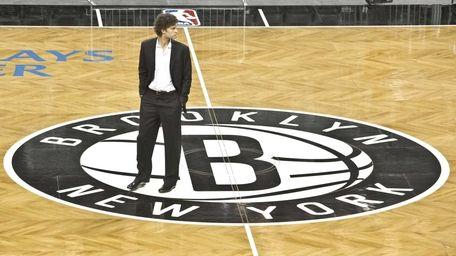 Brooklyn Nets basketball player Brook Lopez walks onto