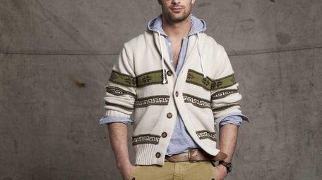 Gant by Michael Bastian—chunky cardigan, seersucker stripe shirt