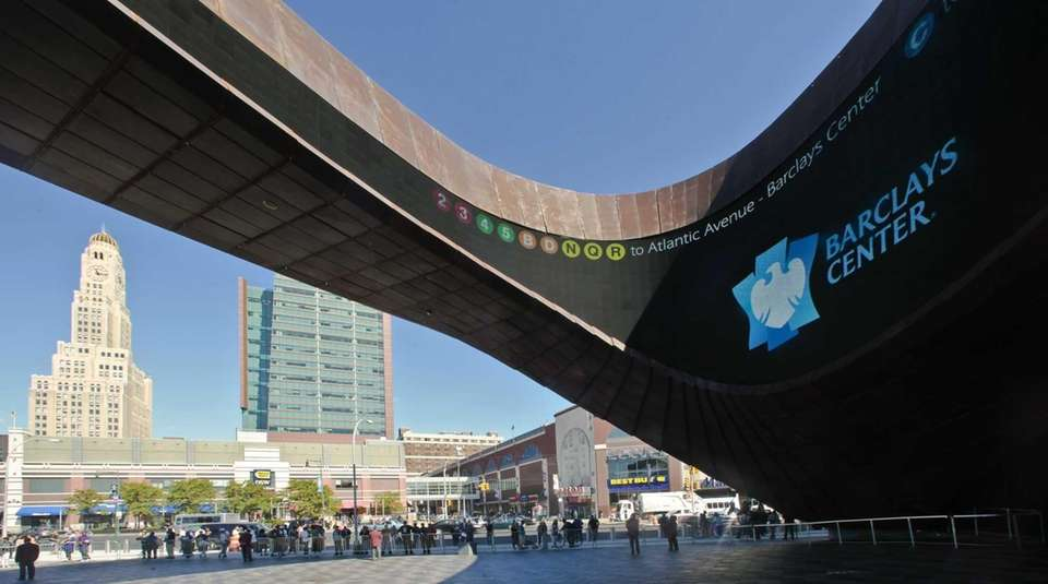 A plaza entry to Barclays Center, Brooklyn's new