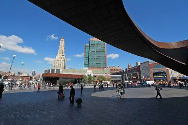 An outside view of the Barclays Center looking