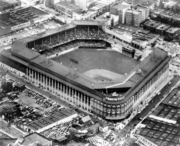 An aerial view of Ebbets Field, home to