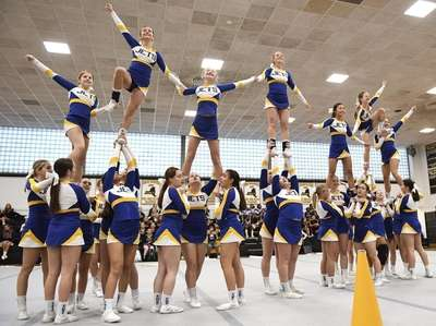 East Meadow competes during a Nassau Cheerleading Competition