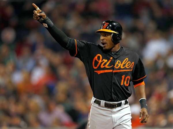 Adam Jones of the Baltimore Orioles reacts after