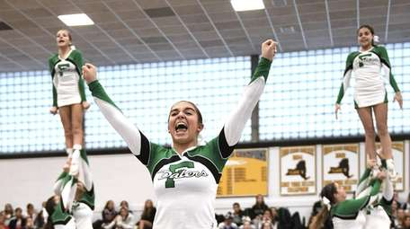 Farmingdale competes during a Nassau Cheerleading Competition on