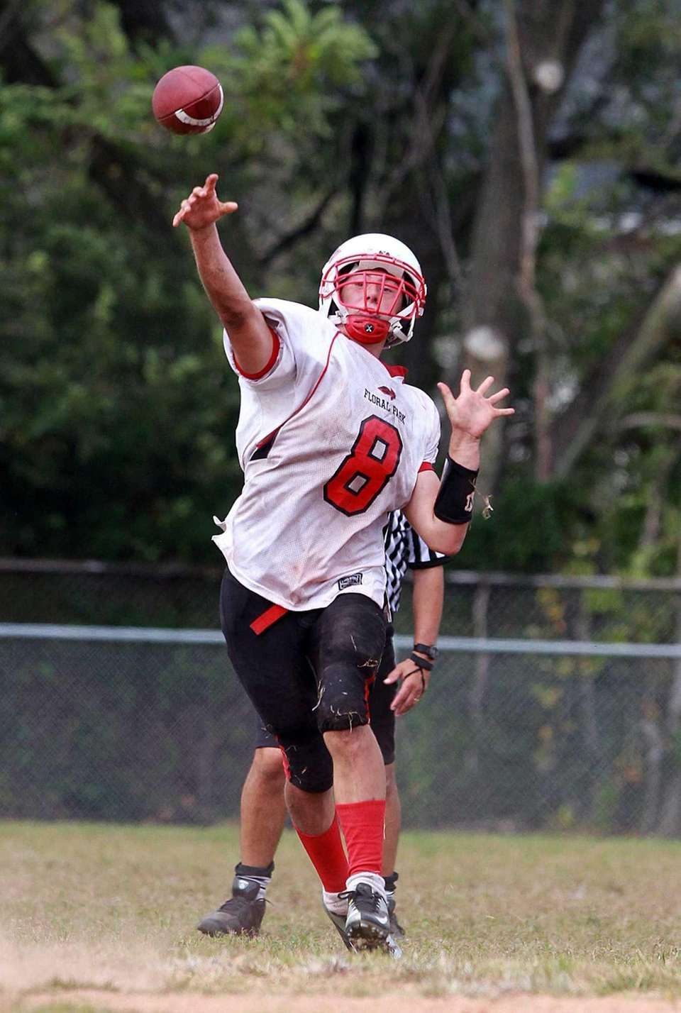 Floral Park's Connor Vidasolo fires a strike to