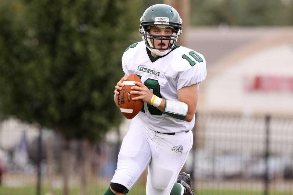 Lindenhurst's Brad Witkowski looks to pass during their