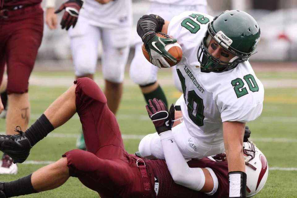 Lindenhurst's Anthony Lanzieri is tackled by Bay Shore's