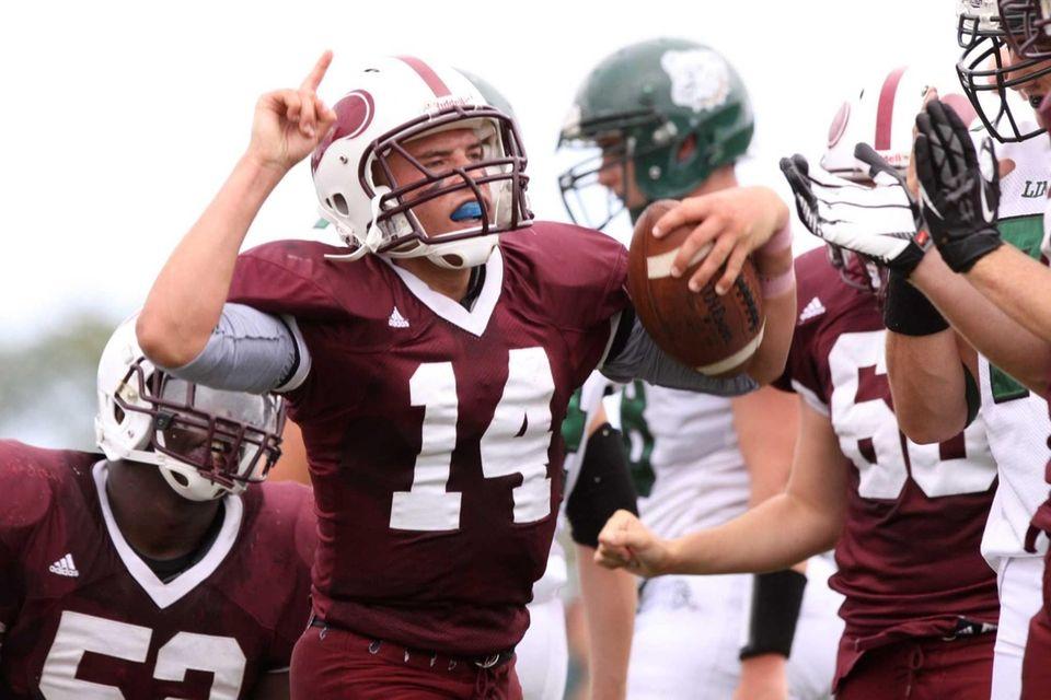 Bay Shore's Jake Sheets celebrates a touchdown in