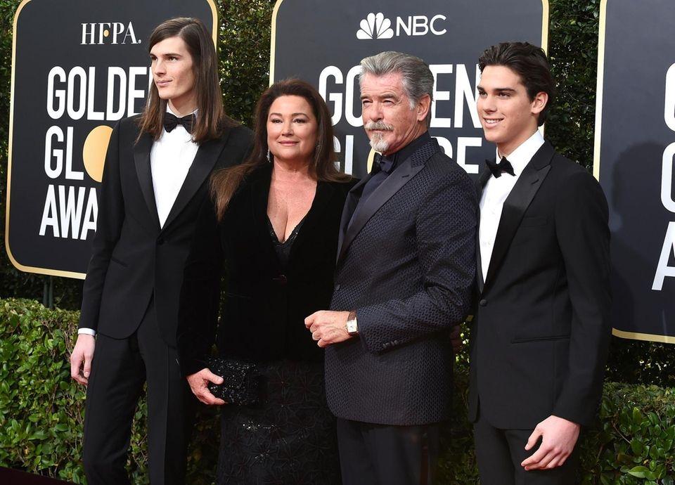 Pierce Brosnan, center right, Keely Shaye Smith, center
