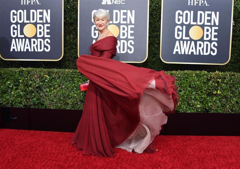 Helen Mirren arrives at the 77th annual Golden